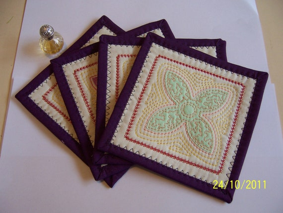 Quilted Coasters  - Pastel Drinks Coasters - Glass Coasters - Mug Coasters - Ornament Coasters - Appliqued
