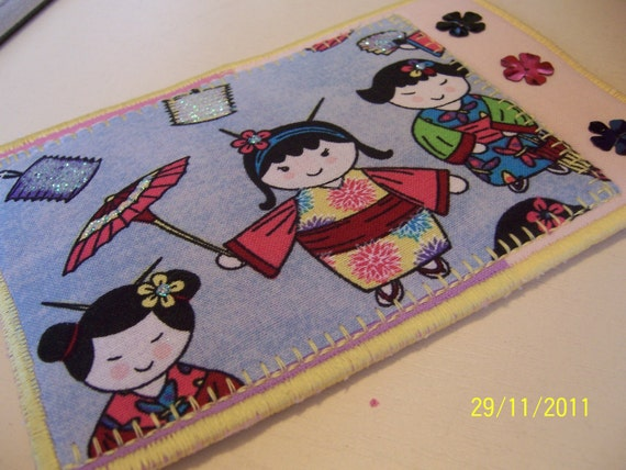 Quilted  Postcard - Handmade  Postcard - Embroidered  Postcard - Patchwork  Postcard - Oriental Postcard