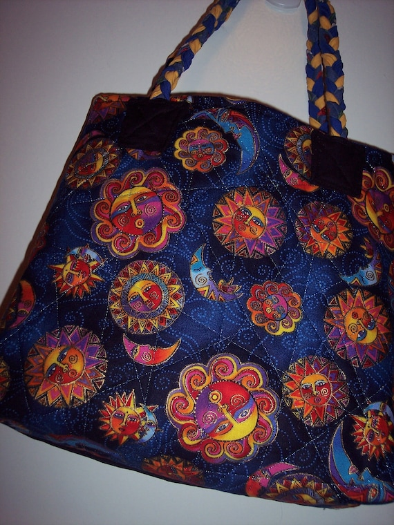 Medium Tote Bag - Quilted Tote Bag - Shopping Tote Bag - Knitting Tote Bag - Market Tote Bag - Laurel Burch Print Tote - Embroidered Tote