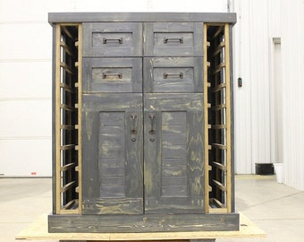 Distressed wine/liquor storage cabinet by ColeTrainProductions