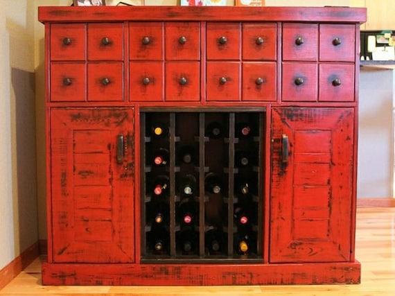 Items similar to Distressed wine/liquor storage cabinet on ...