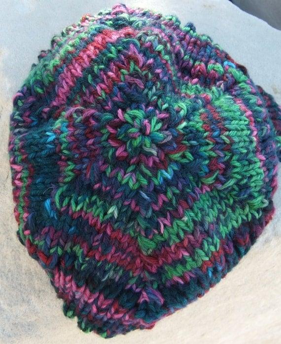 Merino Wool Hand Dyed Ripple Knit Hat