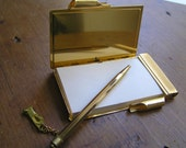 Vintage Chokin Japanese Style Notepad - Mechanical Lead Pencil - Gold and copper metal,  Etched