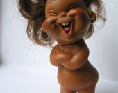 Vintage Sassy Doll - Cute happy little black doll - Crazy hair and a cheeky smile