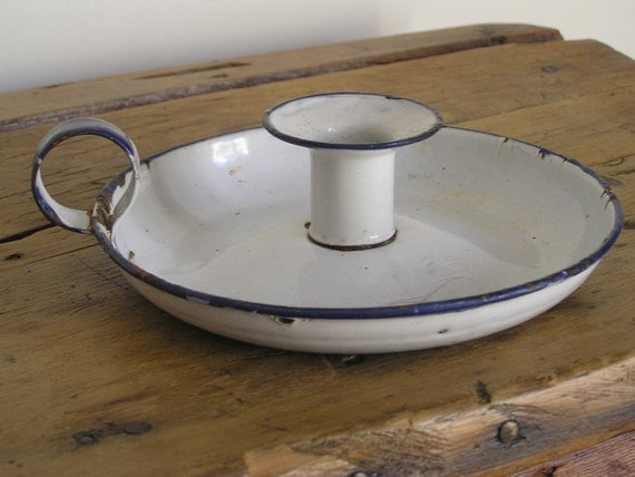 Vintage Enamel Candle Holder - White and Blue - Shabby Chic - Rustic