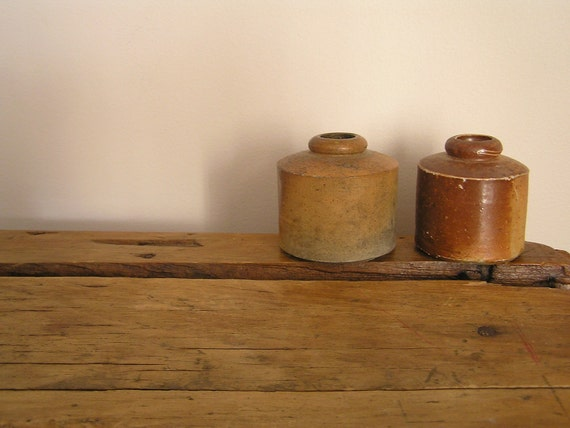 Two Stoneware Ink Pots - Small and rustic, Muddy Clay Colour