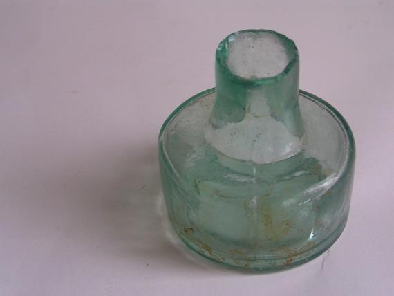 Vintage ink bottle - Little squat aqua green glass bottle