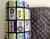Baby Blanket- Colorful Retro Cassette tapes, Grey Minky