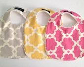 Baby Bibs, Set of 3, Tarika Grey pink yellow wallflowers, Chenille