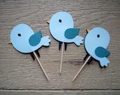 Set of 12 Blue Bird Cupcake Toppers