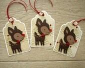 Christmas Gift Tags - Set of 3 Reindeer Tags