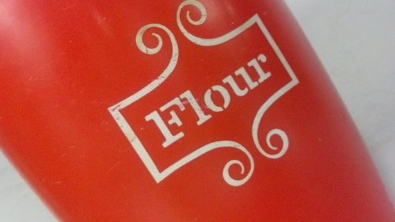 Red and White Flour Canister Kitchen Cutie