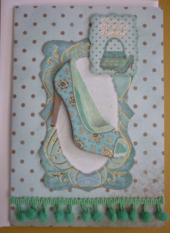 Birthday card decorated with glamorous shoe decoupage