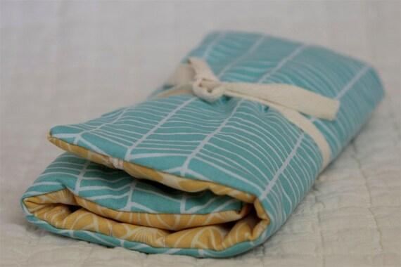 knitting organizer- blue herringbone