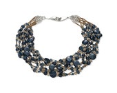 Statement necklace, blue bronze, Swarovski crystal sterling silver glass, luxury jewelry for women, complimentary shipping