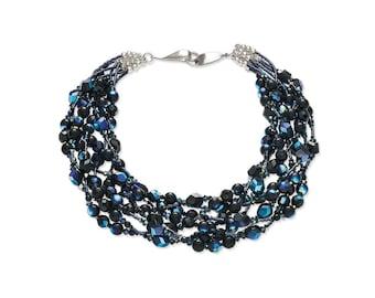 Statement necklace, blue black purple, Swarovski Crystal glass sterling silver