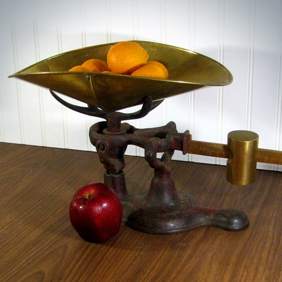 Vintage Jones Brand Brass and Cast Iron Scale - Great Patina