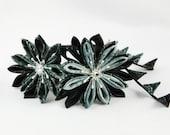 Kanzashi Style Headband in Black and Grey Shades