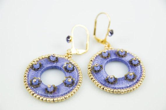 Violet Beaded Earrings