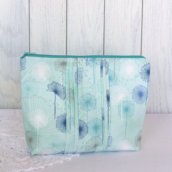 Medium Blue Wisps Cotton Zip Pouch with Pintucked Detail OOAK