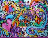 Big Doodle Original Painting Wall Art for Tween or Teen Large 40 x 30