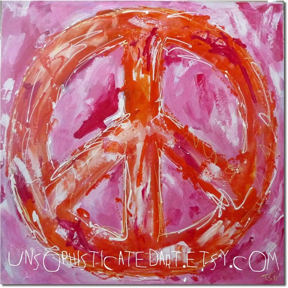 Large Bright Orange Pink Abstract Peace Sign By