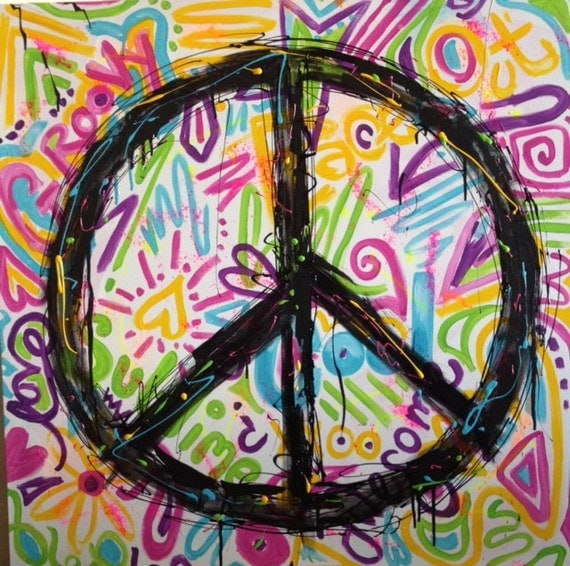 Graffiti Bedroom Art Paint Colors For Bedroom Youth Bedroom Sets Simple Little Boy Bedroom Ideas: Items Similar To Urban Graffiti Peace Sign Painting For