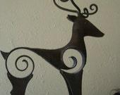 RESERVED FOR NOBBY vintage handwrought iron metal  candleholder large deer antler candleholder