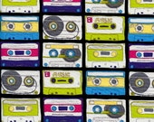 Timeless Treasures Fabric- Cassette Tapes- Multi Color - Retro Novelty Fabric