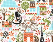 """Timeless Treasures Fabric- """"LAmour De La Vie""""  By Hoodie - French Theme Novelty Fabric - Last 1 1/4 yards"""