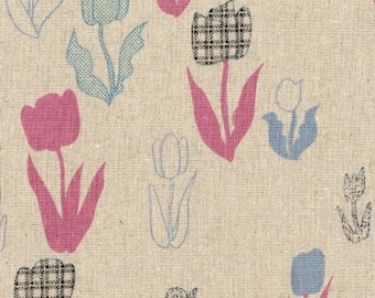 SALE - Kokka Fabric- Tokyo Mon You Collection- Tulip Pink & Blue- Natural Background