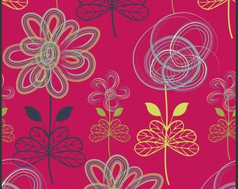 Art Gallery Fabric - Patricia Bravo - Modernology Collection - Drawn Art in Cherry - Choose Your Cut