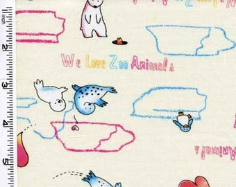 CLEARANCE - Kona Bay Fabric - We Love Zoo Animals- Zoo Animals Print - Cream- Children's Novelty Fabric