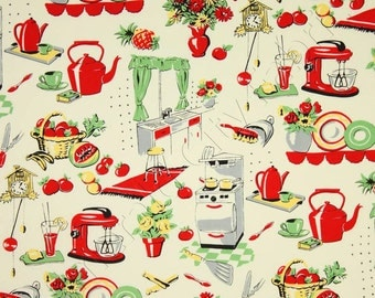 Michael Miller - Fifties Kitchen- Retro 50's Kitchen Appliances on Cream- Novelty Fabric-Choose Your Cut 1/2 or Full Yard