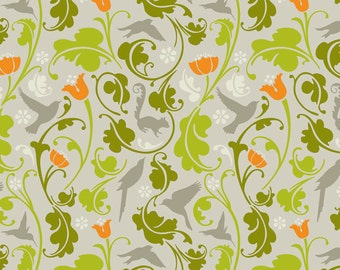SALE - Flora and Fauna in Taupe by Jules Davis for Blend Fabrics