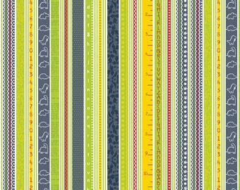 CLEARANCE - Babysaurus Collection-  Numbers and Alphabet Stripes- Navy by Sharon Kropp for Blend Fabrics-Kids Novelty Fabric