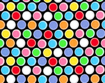 Basic Brights - Multi Dots on Black by Windham Fabrics