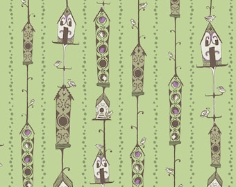 Clearance - Blend Fabrics - Bird Houses in Green by Sarah Watts