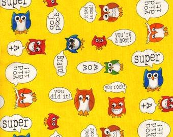 SALE - Timeless Treasures Fabric- School Owls - Yellow- Children's Novelty Fabric
