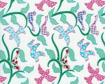 SALE - Timeless Treasures - England Swings- Patchwork Birds by Rebekah Merkle - White