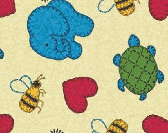 Animal Menagerie - Cream - Schoolhouse Fancy -  Benartex Fabric - Children's Novelty Fabric