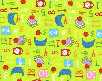 CLEARANCE - Timeless Treasures Fabric- Gumball's 1st School Day Collection by Katie Plitt - Books and Numbers - Lime