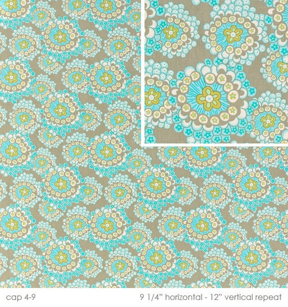 Amy Butler Fabric- Daisy Chain Collection - Dandelion Field - Grey