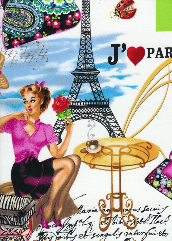 Timeless Treasures Fabric - April in Paris Collection - I Love Paris- Multi Color- Novelty Fabric