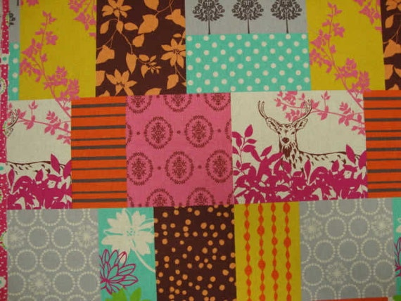 Echino Fall 2011 Fabric - Forest Patchwork - Pink