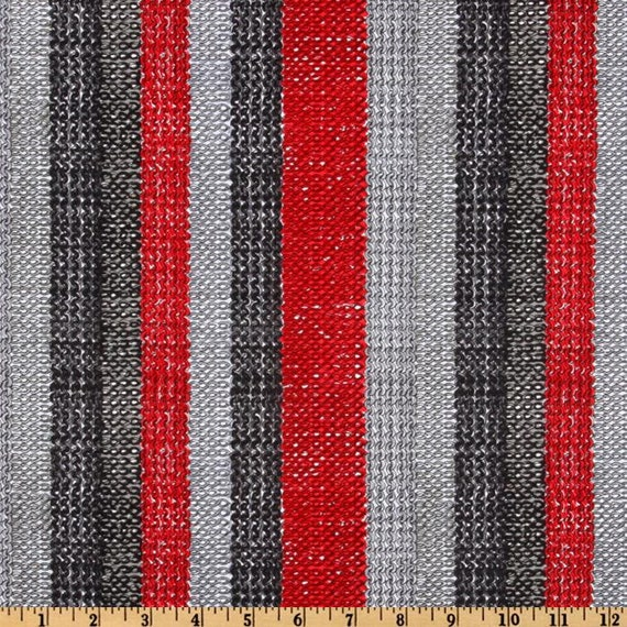 Timeless Treasures Fabric- Do Ewe Knit Collection- Knitting Stripes- Red/Grey-Novelty Fabric