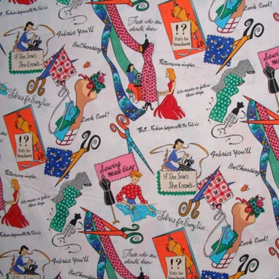 Michael Miller Fabric- If She Sews She Knows Sewing Fabric -Multi- Retro Novelty Fabric