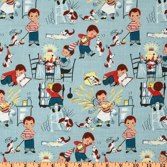 Michael miller fabric little chef teal kids novelty for Kids novelty fabric