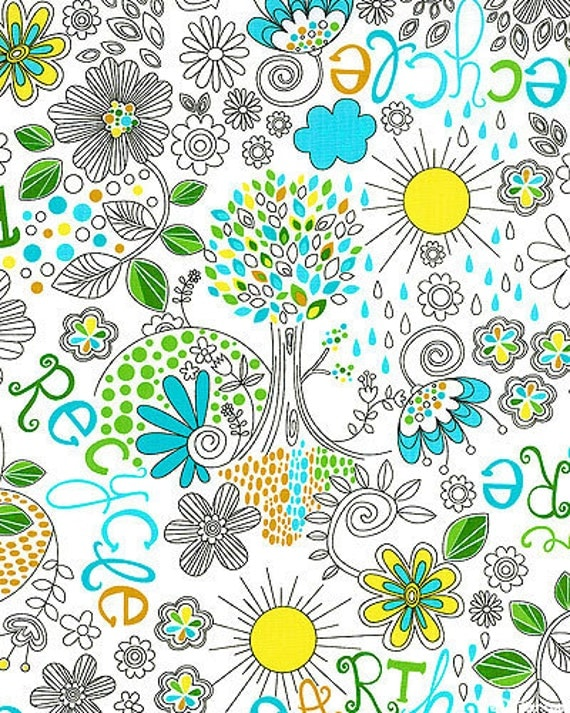 Michael Miller Fabric- Eco Friendly - White- Novelty Fabric