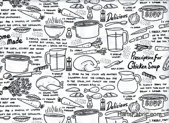 Timeless Treasures Fabric- Chicken Soup - Black and White- Novelty Fabric Collection